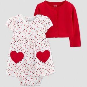 Just One You Valentine Heart Onesie Dress/Cardigan